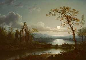 Sebastian Pether - Moonlit Landscape with a Gothic Ruin