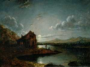 Sebastian Pether - A River Scene with a Cottage