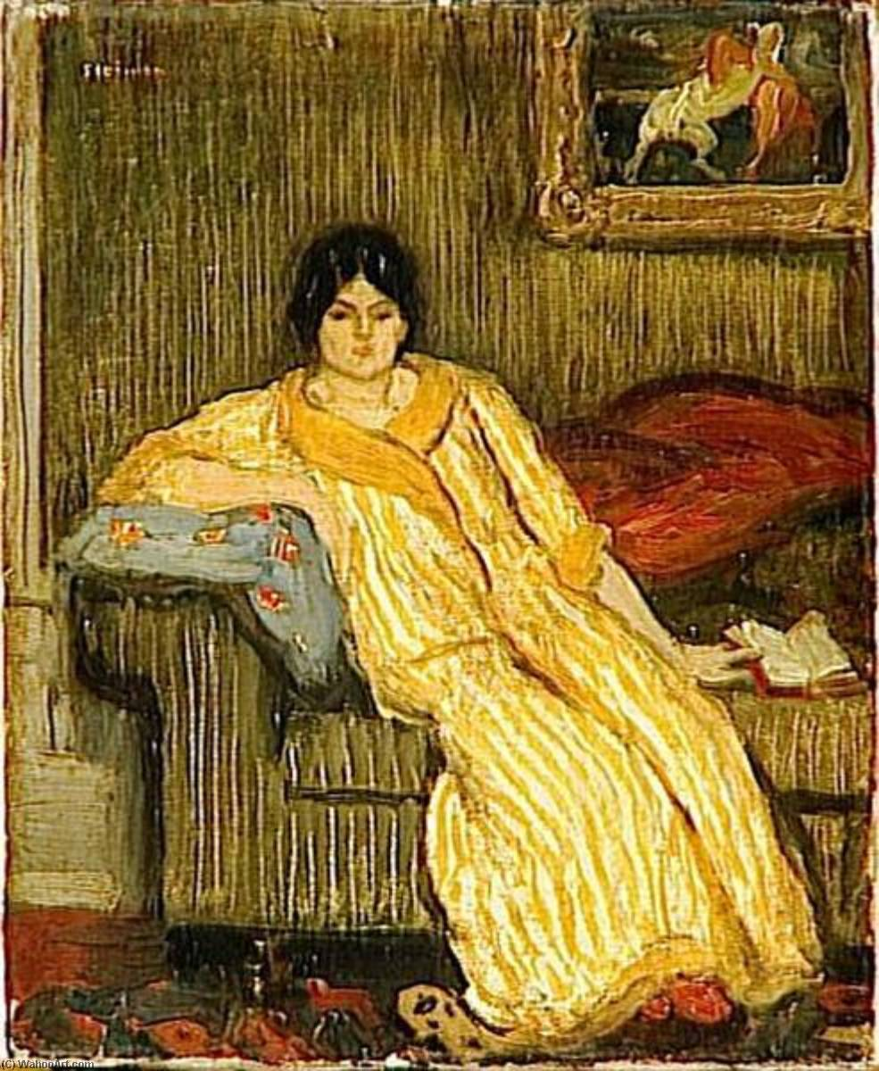 Femme assise dans canapé by Theophile Alexandre Steinlen (1859-1923, Switzerland) | Oil Painting | WahooArt.com
