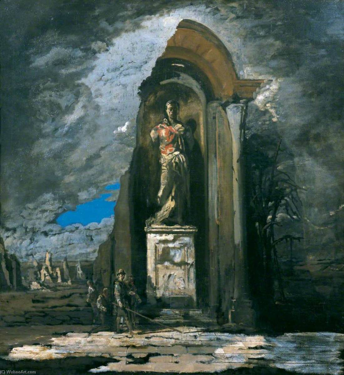 The Monument, Oil On Canvas by James Ferrier Pryde (1866-1941, Scotland)