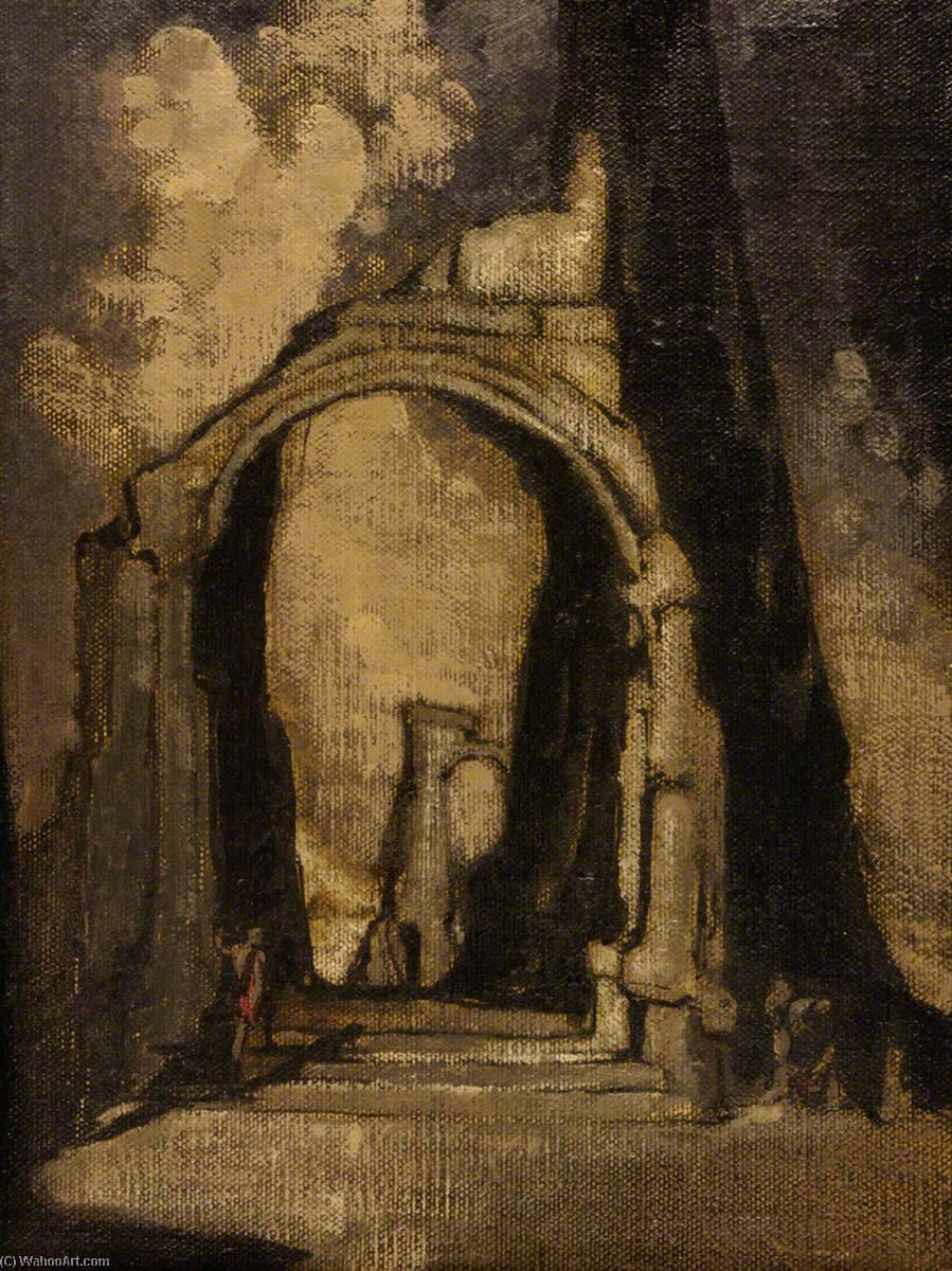 Ruined Arch with Figure by James Ferrier Pryde (1866-1941, Scotland) | WahooArt.com