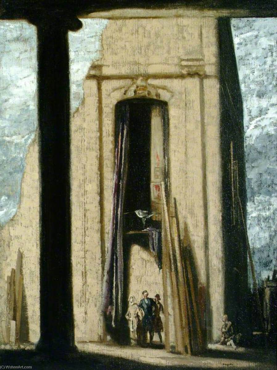 The Black Pillar, Oil On Canvas by James Ferrier Pryde (1866-1941, Scotland)