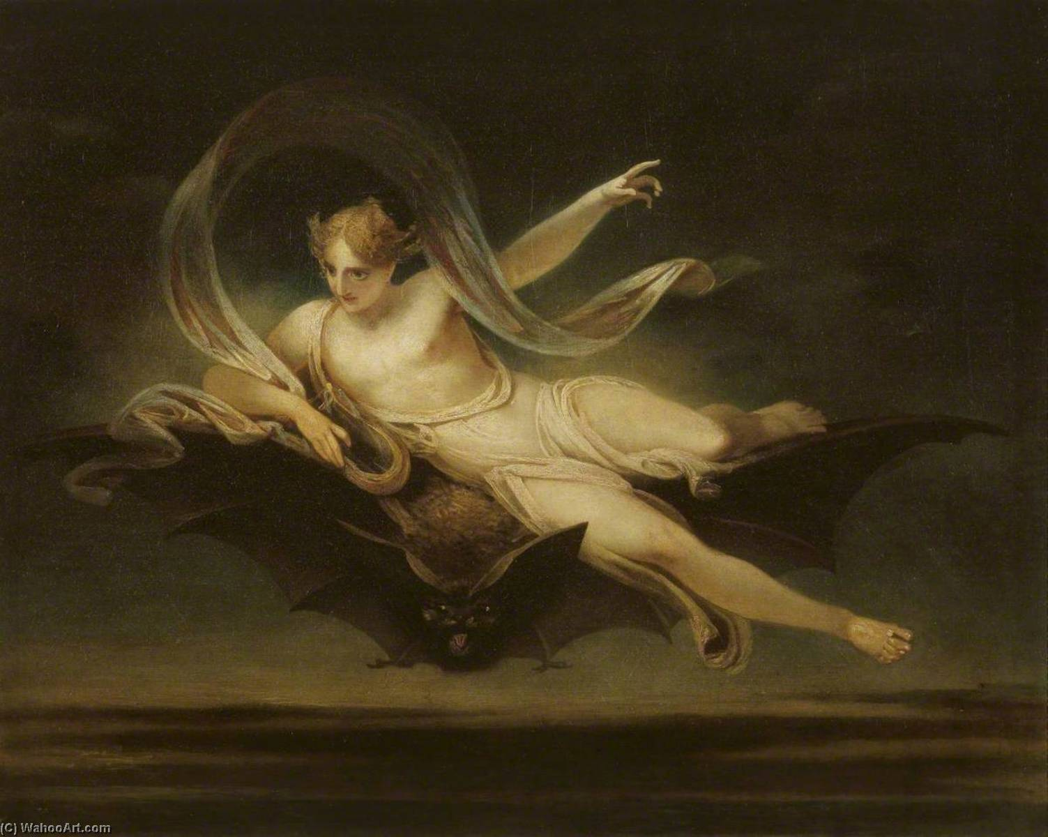 Order Reproductions | Ariel on a Bat`s Back, 1819 by Henry Singleton (1766-1839, United States) | WahooArt.com
