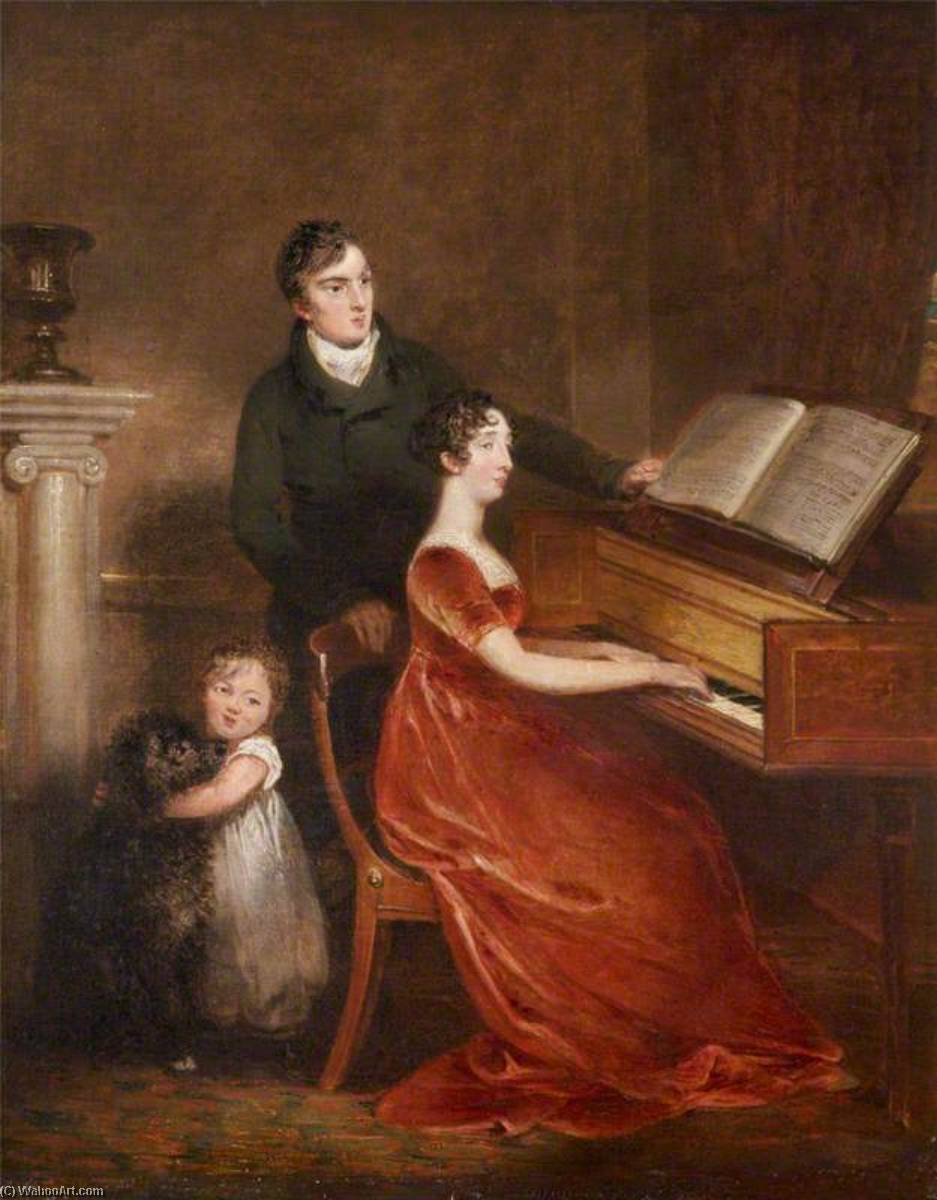 Sir Thomas Dyke Acland (1787–1871), 10th Bt, MP, His Wife Lydia Elizabeth Hoare (1786–1856), and Their Son, Later Sir Thomas Dyke Acland (1809–1898), 11th Bt, 1812 by Henry Singleton (1766-1839, United States) | Museum Quality Copies Henry Singleton | WahooArt.com