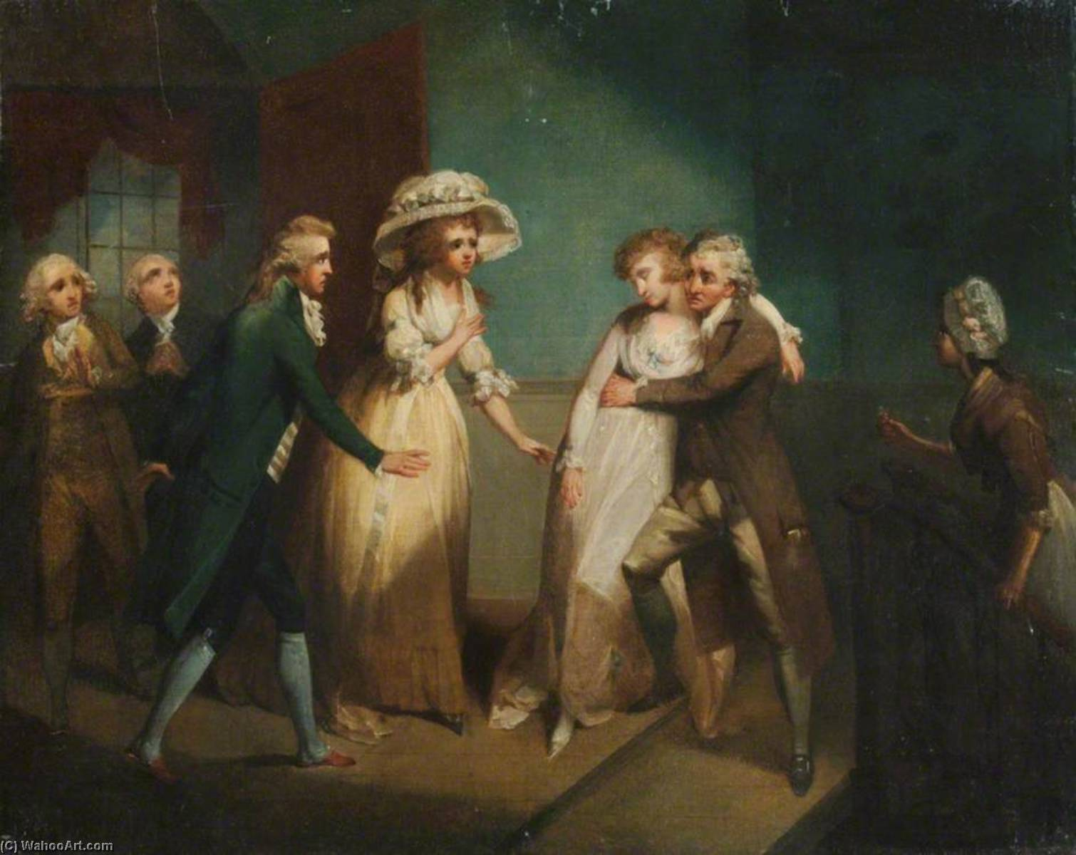`Camilla Fainting in the Arms of Her Father` (an illustration of a scene from Fanny Burney`s `Camilla, or a Picture of Youth`, published in 1796) by Henry Singleton (1766-1839, United States) | Paintings Reproductions Henry Singleton | WahooArt.com