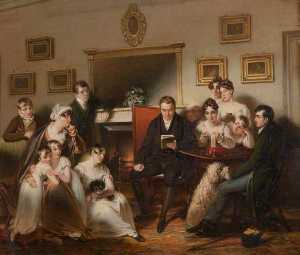 Henry Singleton - The Pastor's Fireside The family of Sir Thomas Acland, 10th Bt, Being Read to by the Vicar of Silverton