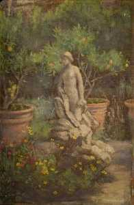 Louisa Starr Canziani - Fountain in a Garden, Cairate, Lombardy