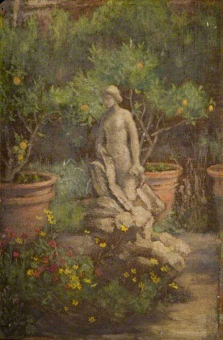 Fountain in a Garden, Cairate, Lombardy, 1877 by Louisa Starr Canziani (1845-1909) | Painting Copy | WahooArt.com