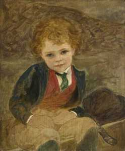 Louisa Starr Canziani - Study of a Boy Sitting in a Wheelbarrow