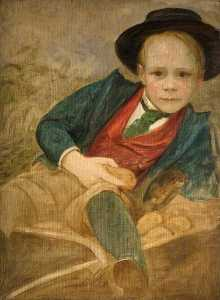 Louisa Starr Canziani - Study of a Boy Sitting on a Wheelbarrow