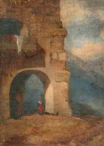 Louisa Starr Canziani - Italian Peasant in Stone Archway