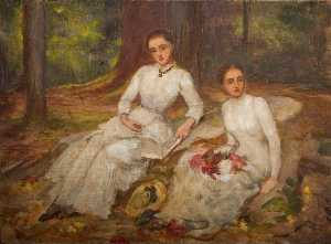 Louisa Starr Canziani - Two Women in White Seated in a Wooded Glade