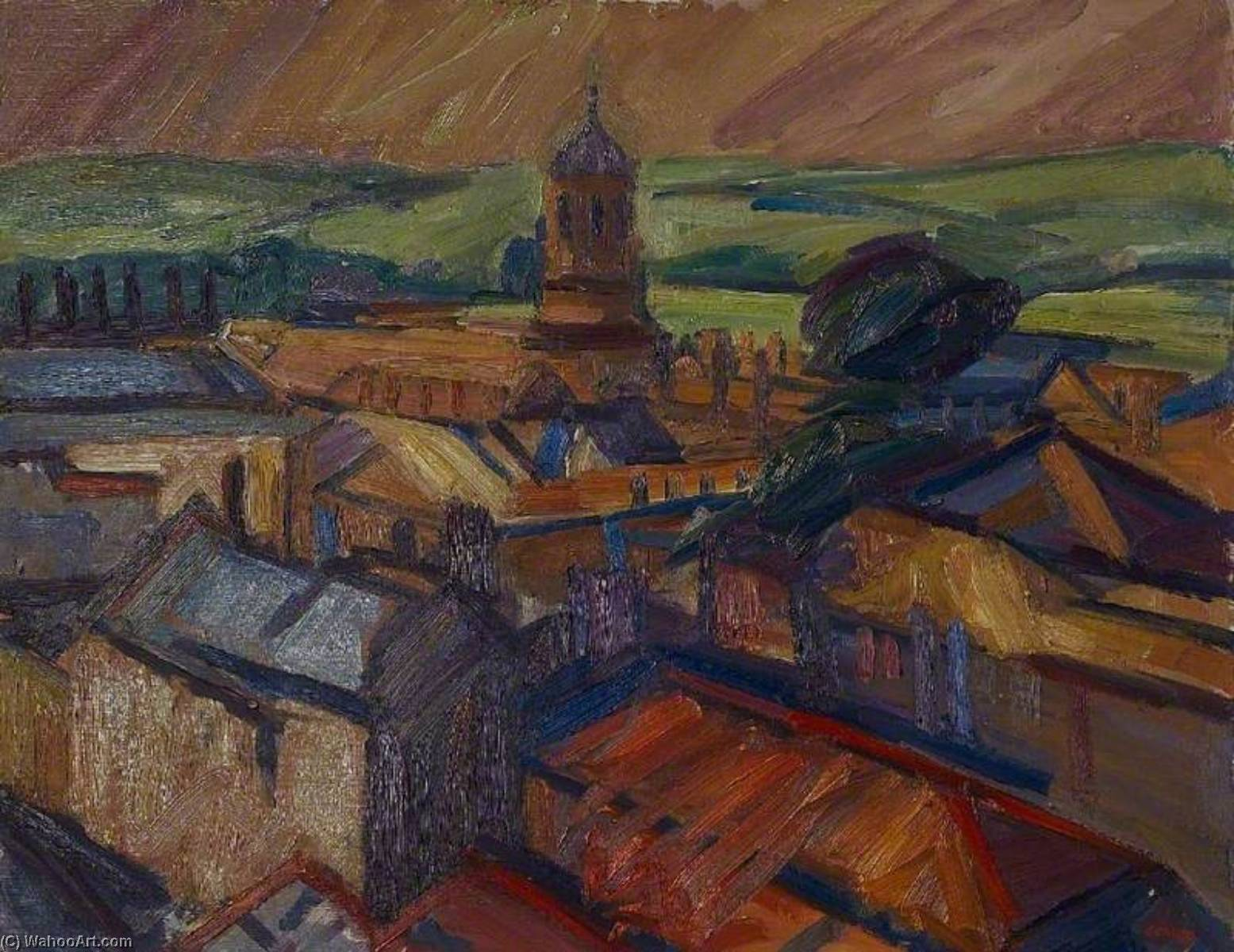 Christchurch Tower, Oxfordshire, Oil by Nick Schlee