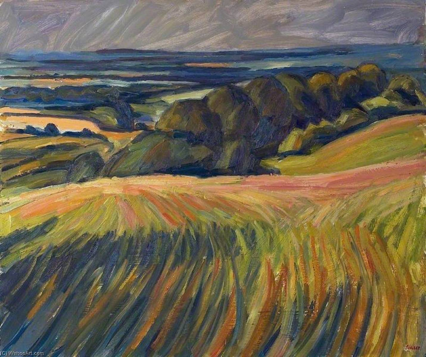 Towards Letcombe Bassett, Oxfordshire, Oil by Nick Schlee