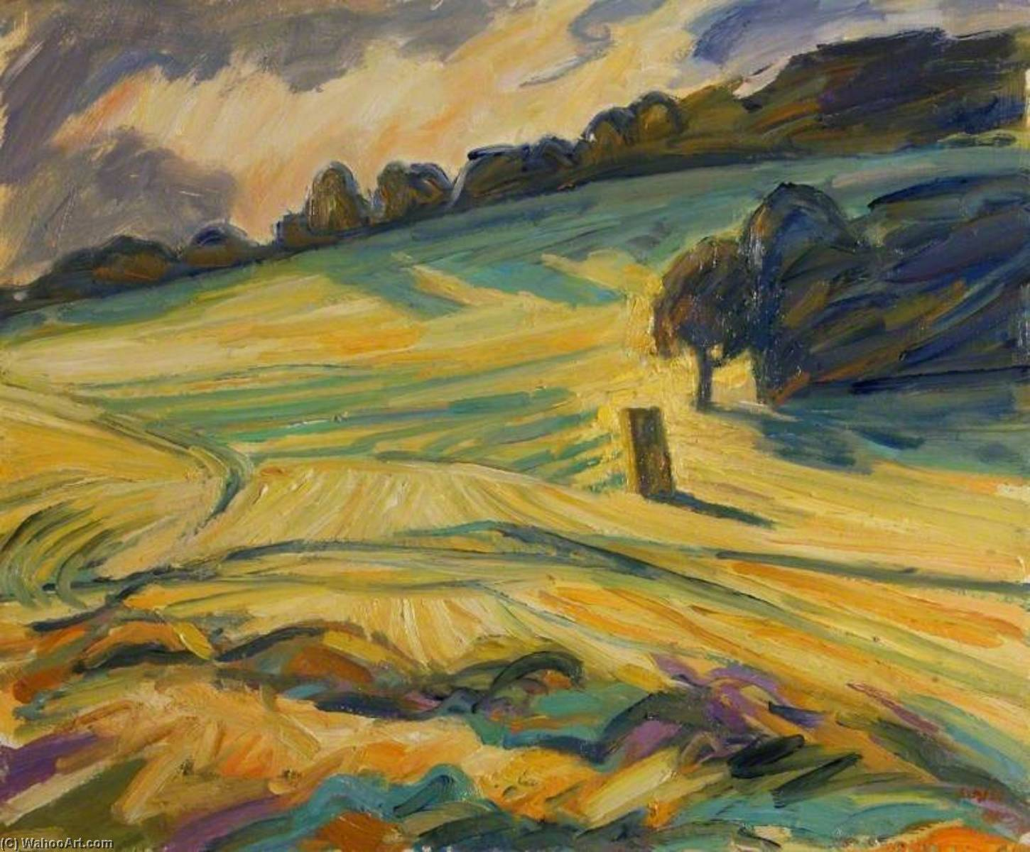 Field at Hook End Lane (Lower Basildon), Oil by Nick Schlee