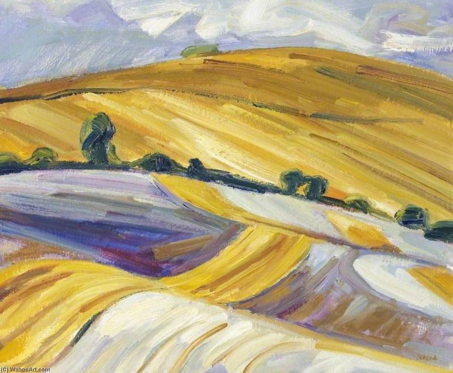 Stubble Field near Rhossili Down, Oil by Nick Schlee