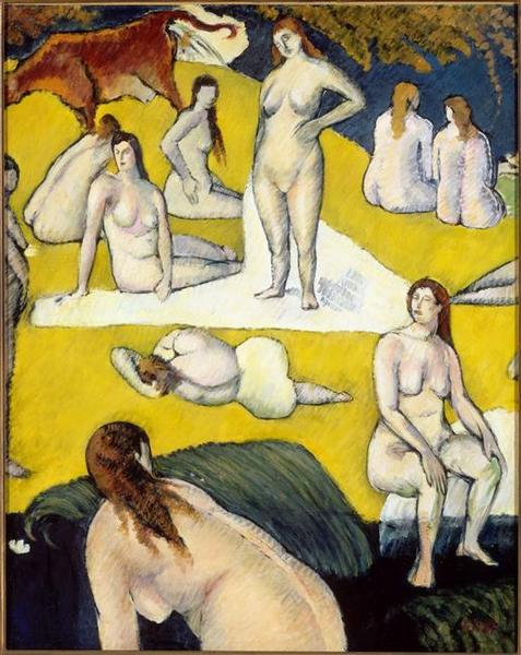 LES BAIGNEUSES A LA VACHE ROUGE, Oil by Emile Bernard (1868-1941, France)