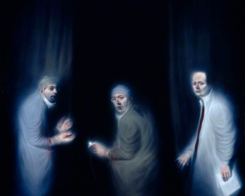 Three Oncologists (Professor R. J. Steele, Professor Sir Alfred Cuschieri and Professor Sir David P. Lane of the Department of Surgery and Molecular Oncology, Ninewells Hospital, Dundee), Oil On Canvas by Ken Currie