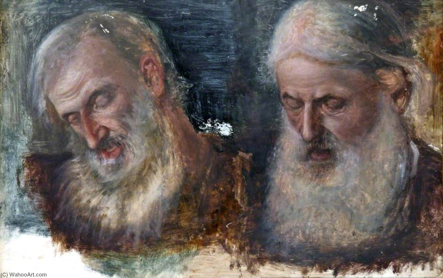 Two Studies of Jews` Heads for `Christians and Christians`, 1868 by Robert Braithwaite Martineau (1826-1869, United Kingdom) | Art Reproductions Robert Braithwaite Martineau | WahooArt.com