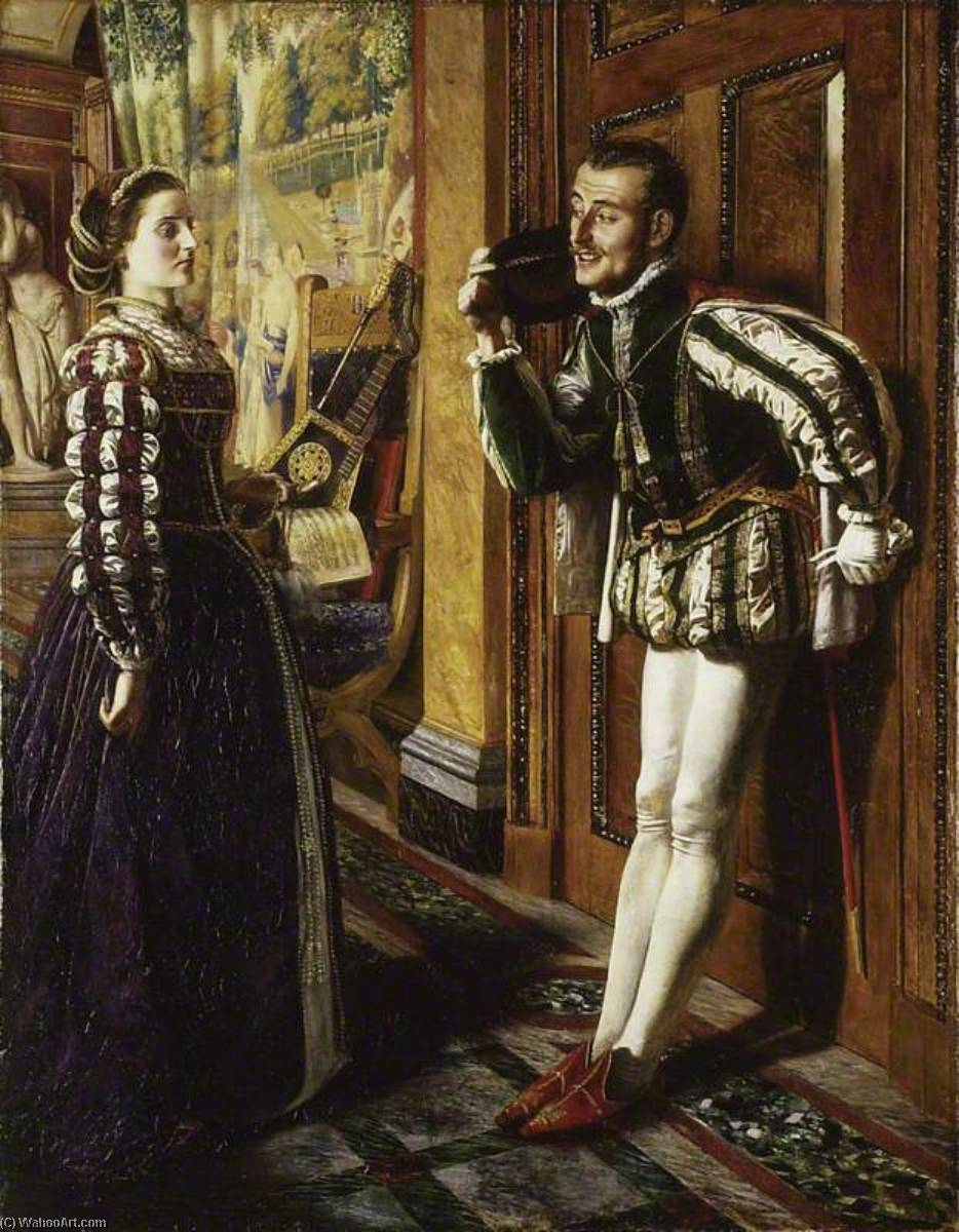 Order Paintings Reproductions | Katherine and Petruchio, 1855 by Robert Braithwaite Martineau (1826-1869, United Kingdom) | WahooArt.com