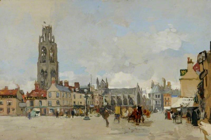 View of the Market Place, Boston, Lincolnshire, Looking North, Oil by James Kerr Lawson (1862-1939)