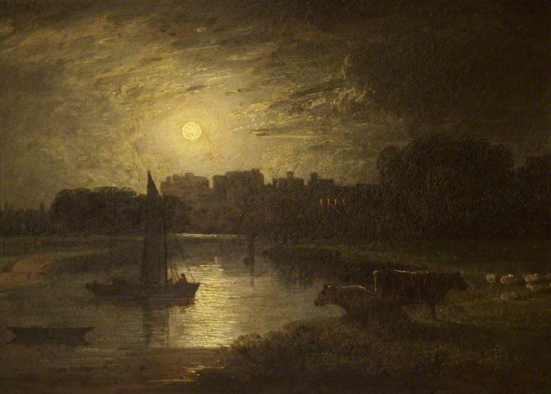 Windsor and Eton from Clewer Meadows by Moonlight, Oil On Panel by Thomas Christopher Hofland (1777-1843)