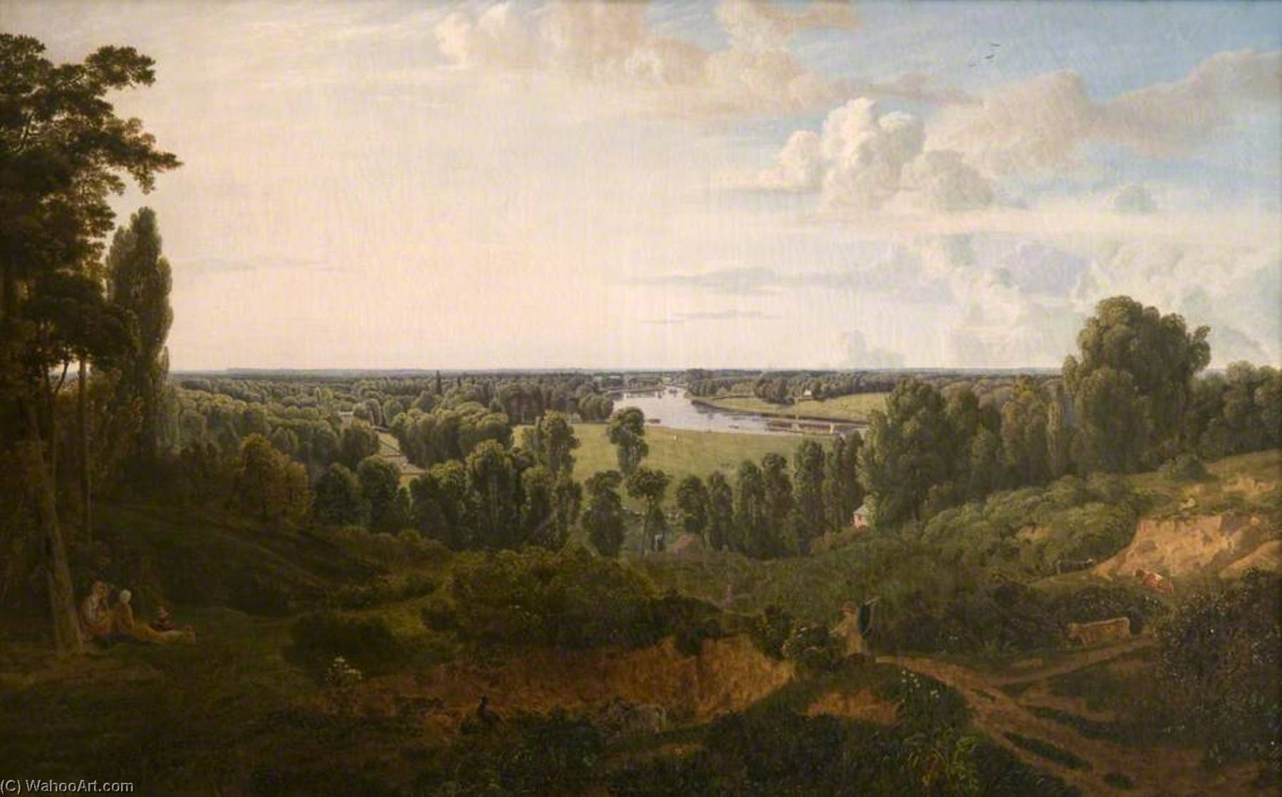 A View from Richmond Hill, Oil On Canvas by Thomas Christopher Hofland (1777-1843)