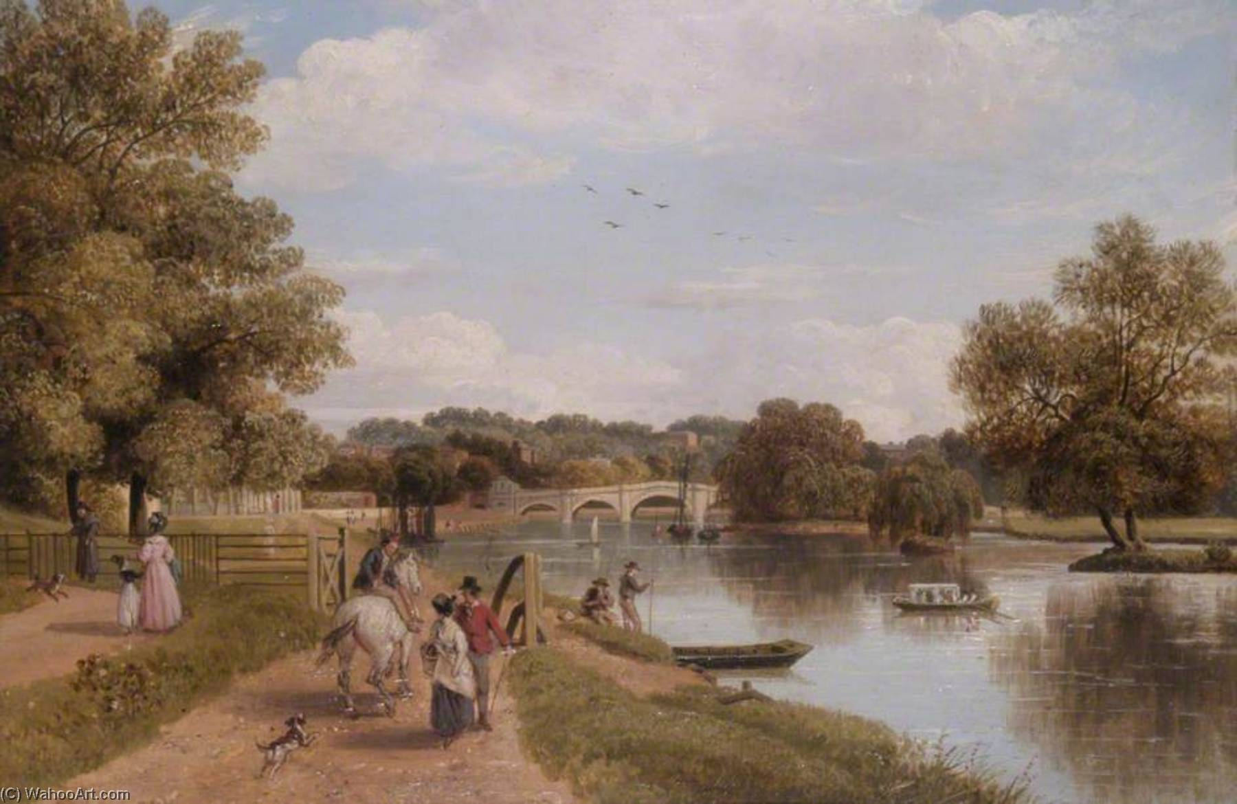 Richmond Bridge from the Towing Path, Surrey, Oil by Thomas Christopher Hofland (1777-1843)
