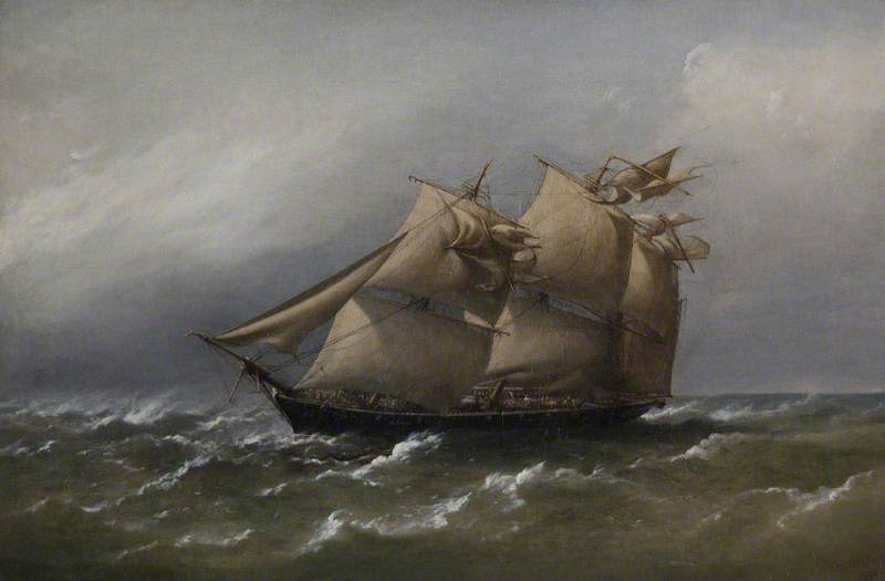 'HMS Fawn' Caught in a White Squall, Bass Straits, Australia (Commander, Ralph P. Cator), 1880 by Richard Brydges Beechey (1808-1895) | Museum Quality Reproductions | WahooArt.com