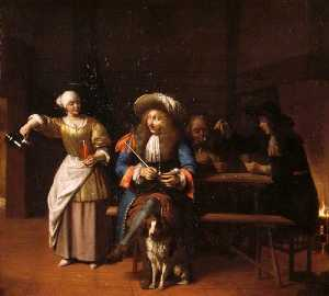 Pieter De Hooch - The Empty Jug A Tavern Scene with a Serving Wench, a Gentleman with a Pipe and a Dog, and Card Players