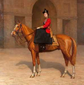 Leonard Boden - Her Majesty Queen Elizabeth II in the Uniform of the Scots Guards, on 'Imperial'
