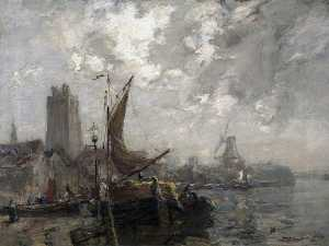James Campbell Noble - The Old Wharf, Dordrecht, Holland