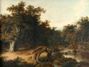 Robert Ladbrooke - Landscape with Trees, Cattle, and Stream