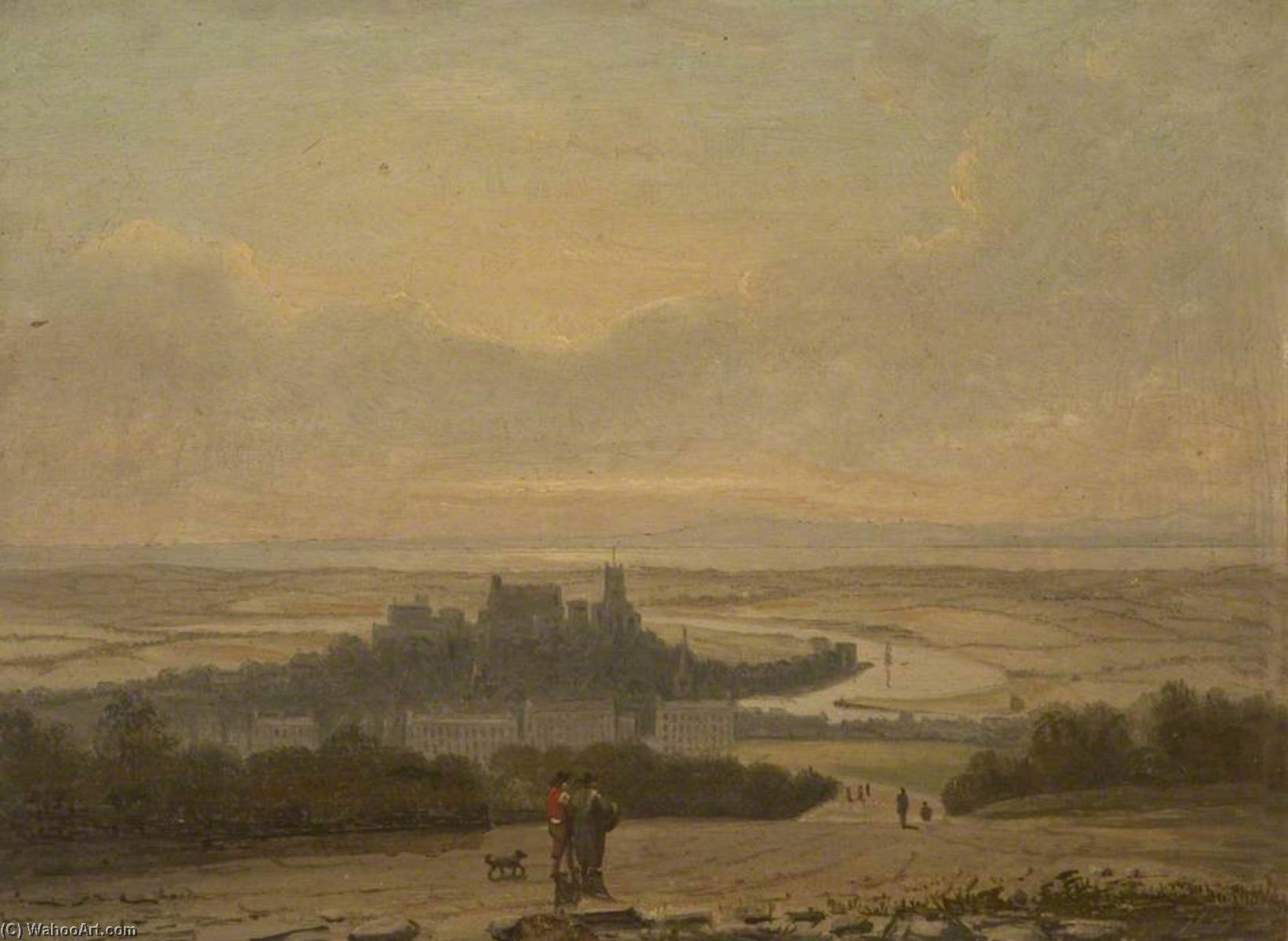 Lancaster from the East, Oil On Panel by John Henderson (1797-1878)