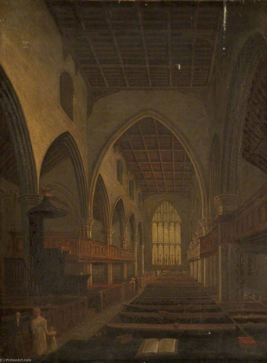 St Mary's Church, Lancaster, Oil On Canvas by John Henderson (1797-1878)