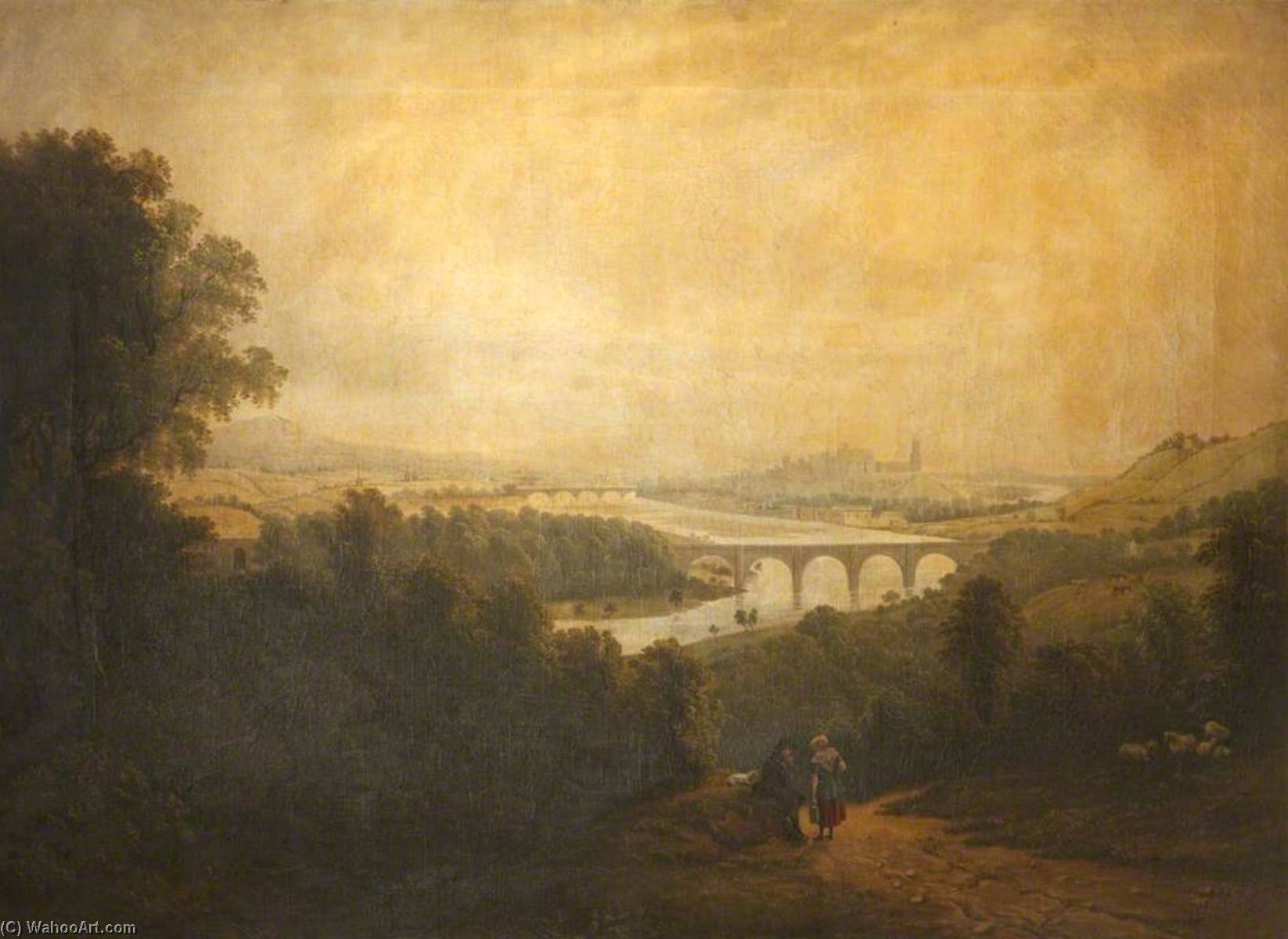 Lancaster with the Aqueduct Bridge, Oil On Canvas by John Henderson (1797-1878)