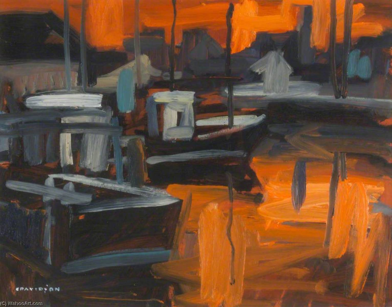 Boats in Harbour by Colin Davidson | Museum Quality Copies Colin Davidson | WahooArt.com