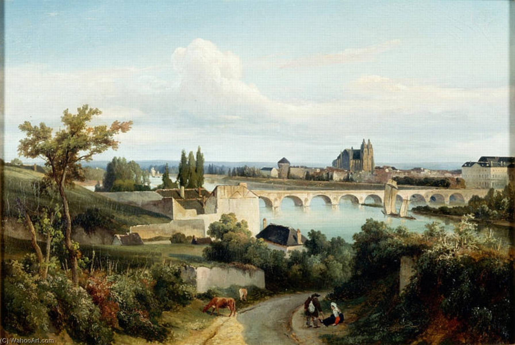 Le pont de Tours, Oil by Prosper Barbot (1798-1877)