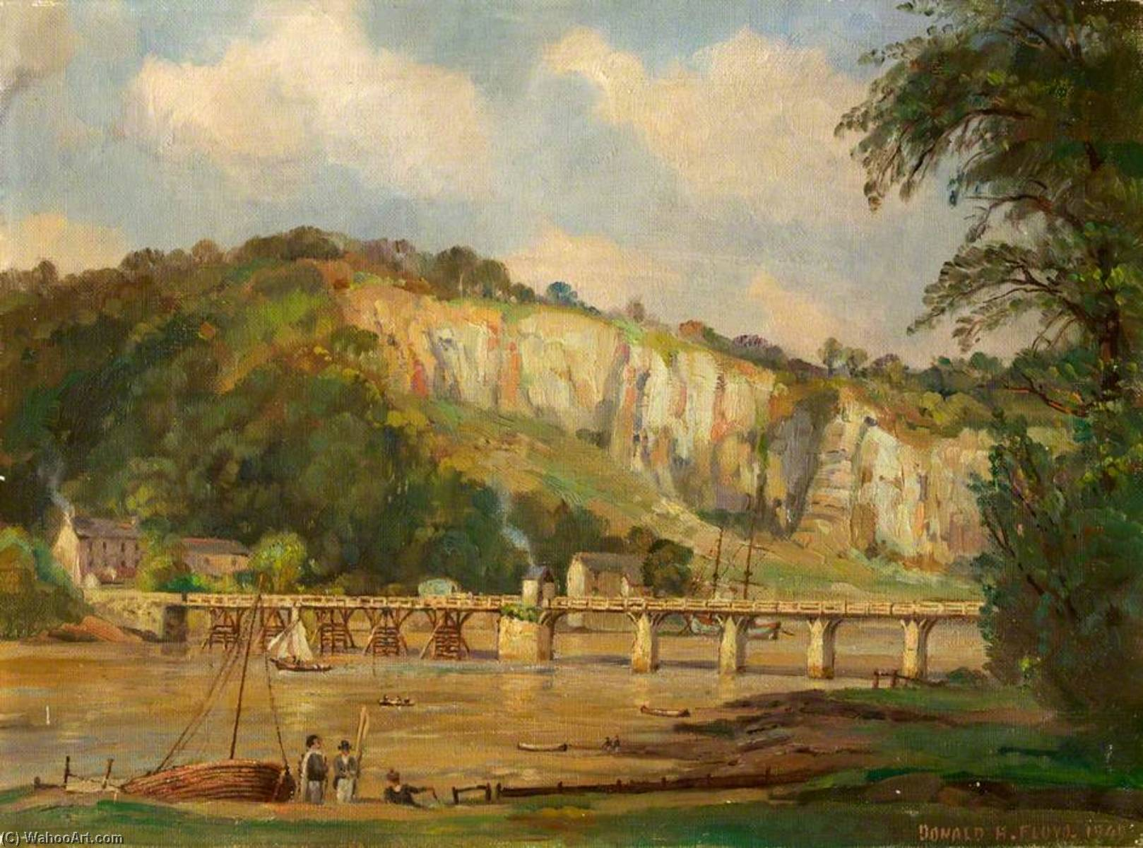 Old Chepstow Bridge, 1949 by Donald Henry Floyd (1892-1965) | Famous Paintings Reproductions | WahooArt.com