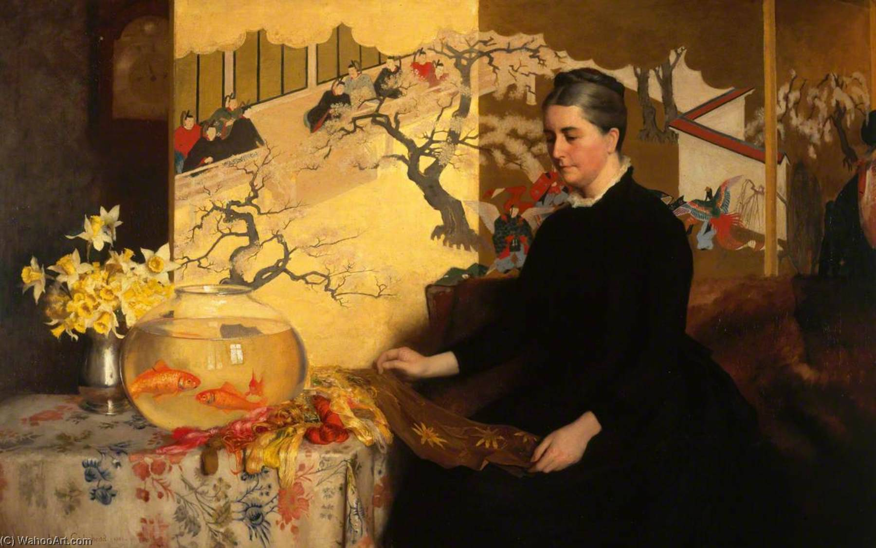 Order Museum Quality Copies | Lady with a Japanese Screen and Goldfish (The Artist`s Mother), 1886 by James Cadenhead | WahooArt.com