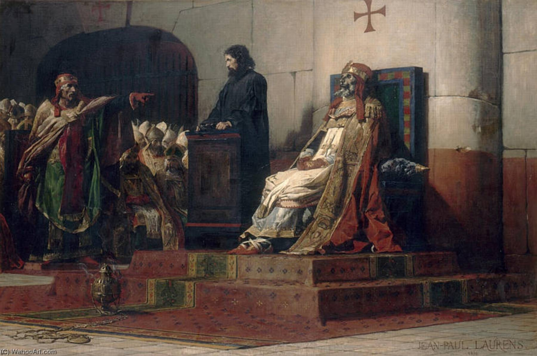 Le pape Formose et Etienne VII by Jean-Paul Laurens (1838-1921, France) | Museum Quality Reproductions | WahooArt.com