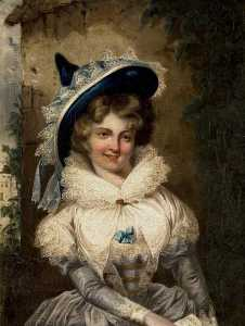 Matthew William Peters - Portrait of a Lady with a Large Pointed Hat