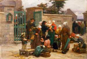 Léon Augustin L'hermitte - Le Pardon de Plourin, Brittany Peasants Leaving Church