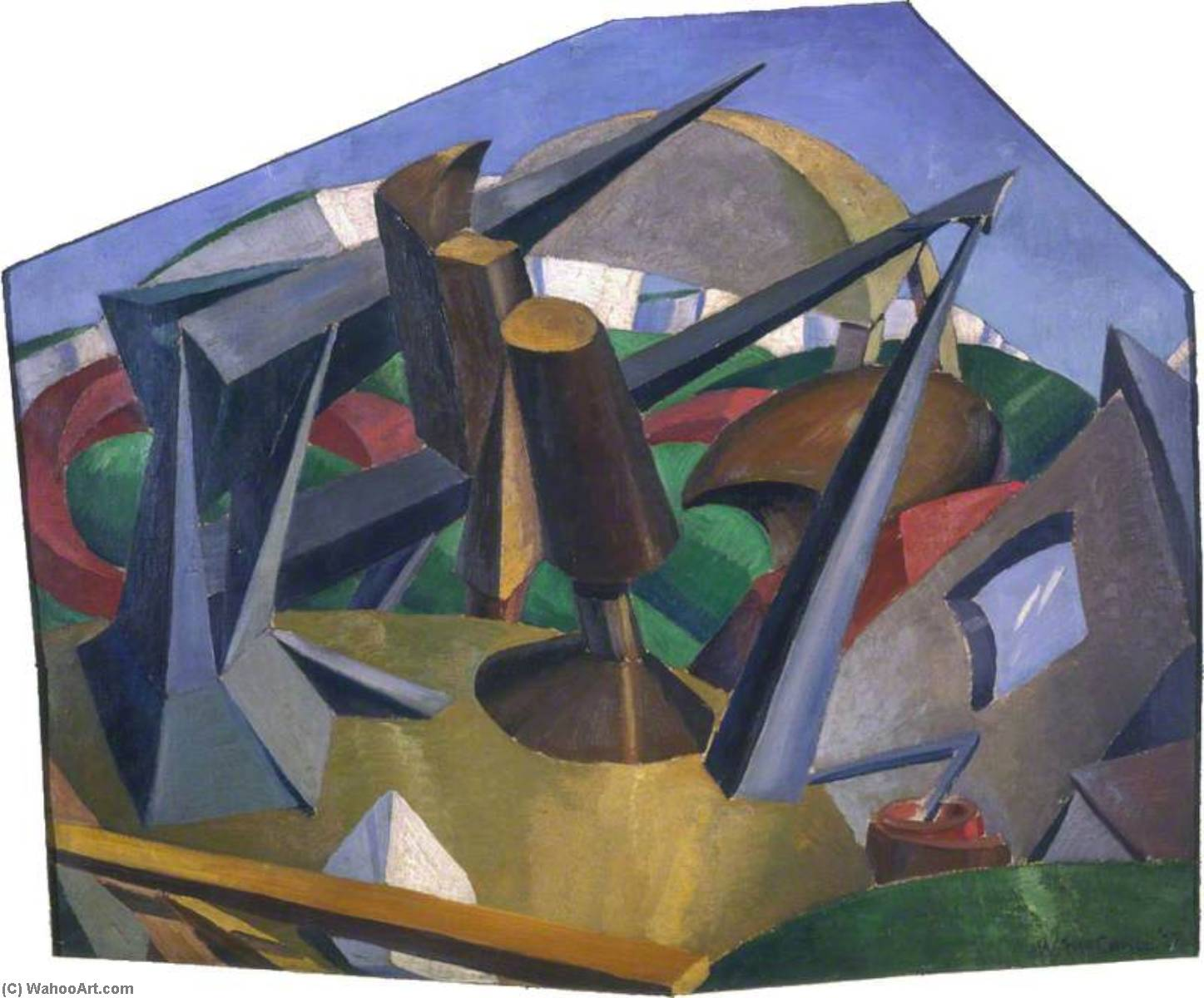 Buy Museum Art Reproductions | Heavy Structures in a Landscape Setting, 1922 by William Mccance | WahooArt.com