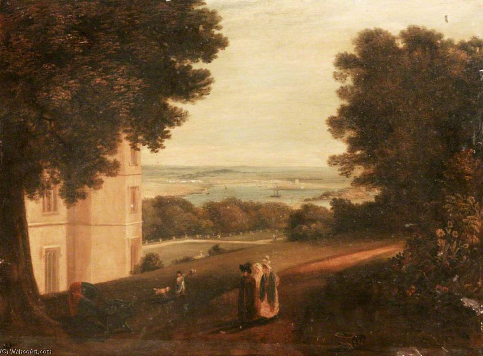 St Nicholas Island from Mount Edgcumbe, 1829 by Ambrose Bowden Johns (1776-1858) | Paintings Reproductions Ambrose Bowden Johns | WahooArt.com