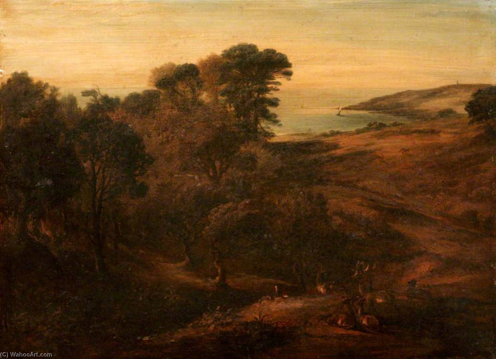 Order Art Reproductions | Penlee Point and Cawsand Bay, 1829 by Ambrose Bowden Johns (1776-1858) | WahooArt.com