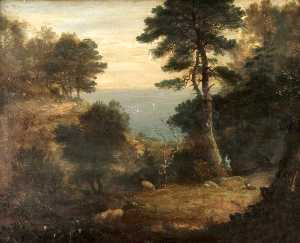 Ambrose Bowden Johns - Drovers with Sheep on a Wooded Clifftop Path