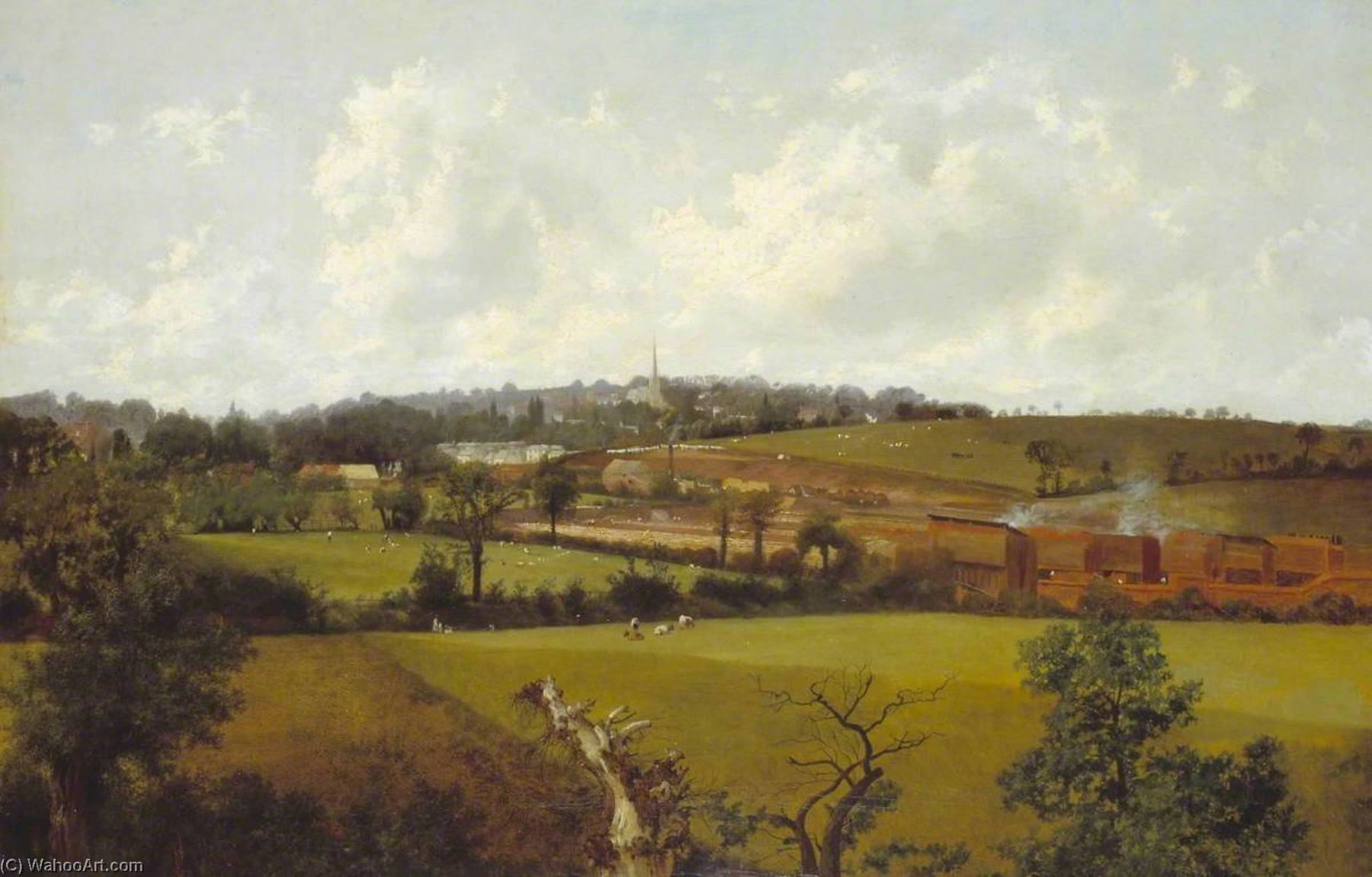 Hampstead from the South East, Oil On Canvas by Alfred Clint