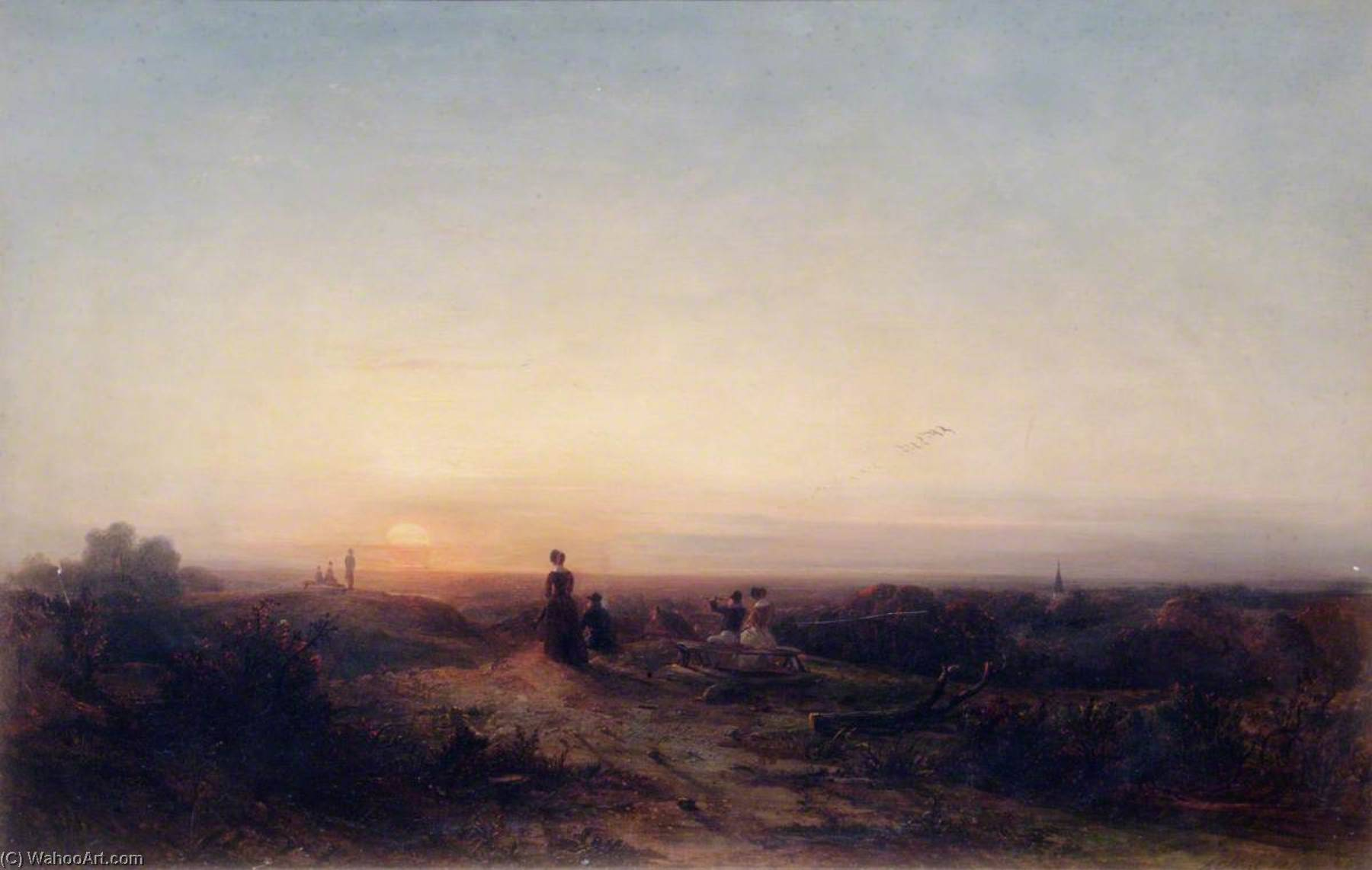 Sunset from Hampstead Heath, Oil On Canvas by Alfred Clint