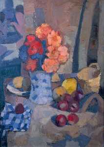 Denis Frederic Neal Peploe - Flowers, Fruit and Checked Cloth